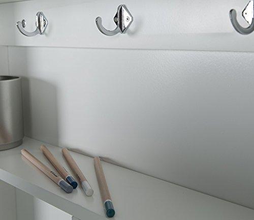 phoenix 805106we schreibtisch york zur fixierung an der wand ein ausklappbar mit viel stauraum und ablagefaecher und tafelfront bxhxt 75 5x149x60cm weiss - PHOENIX 805106WE Schreibtisch York zur Fixierung an der Wand, ein/ausklappbar mit viel Stauraum und Ablagefächer und Tafelfront, BxHxT 75.5x149x60cm, weiß