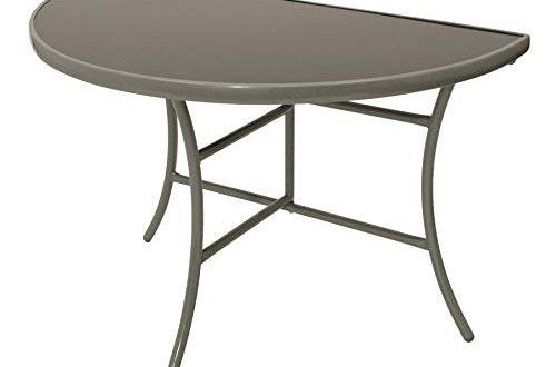 DEGAMO Wandtisch Palermo halbrund 58x110cm klappbar Stahl silberfarben Glas grau 500x330 - DEGAMO Wandtisch Palermo halbrund 58x110cm, klappbar, Stahl silberfarben, Glas grau, Innen und Außen