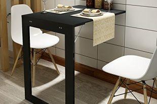 Dongy Klappbare Wand-Drop-Blatt-Tisch, Multifunktions-Computer-Schreibtisch Kindertisch Schreibtisch, Küche Esstisch, Wandtisch, Klappbarer Bilderrahmen, Schwarz, Weiß