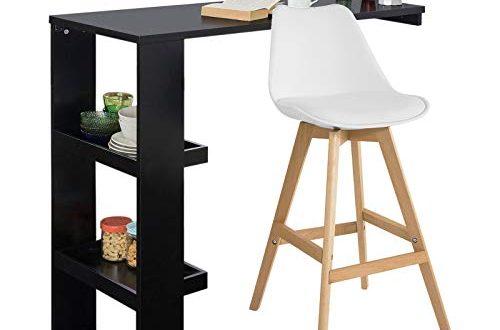 SoBuy FWT55-SCH Design Bartisch Stehtisch Bartresen Bistrotisch Esstisch Küchenbartisch mit 2 Regalfächern schwarz BHT ca.: 120x106x45cm
